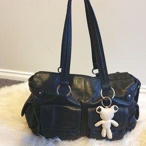 Il Tutto Mia Black Leather Nappy bag